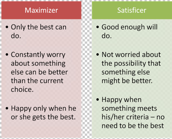 Satisficer Maximizer Small